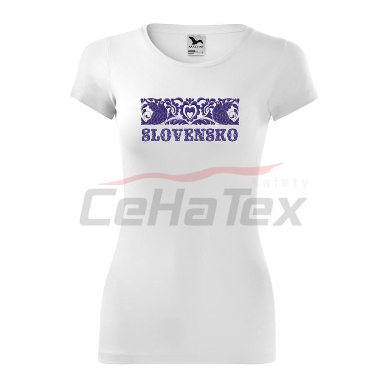 aa1233b98133 Dámske tričko s výšivkou SLOVENSKO - CEHATEX